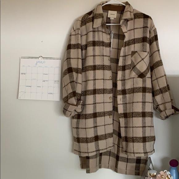 Jackets & Blazers - i.madeline brown tan plaid oversized shirt jacket